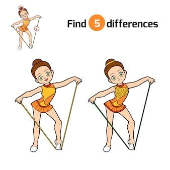 Encuentra diferencias, juego educativo para niños, la gimnasta con una cuerda