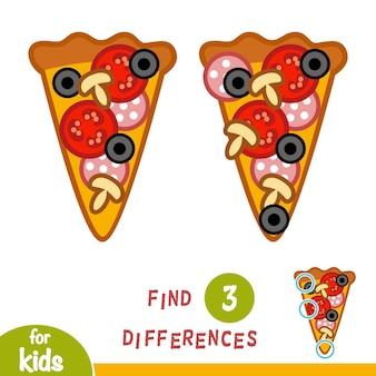 Encuentra diferencias, juego educativo para niños, pizza