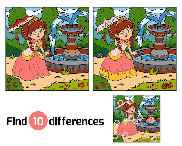 Encuentra las diferencias juego educativo para niños, princesa