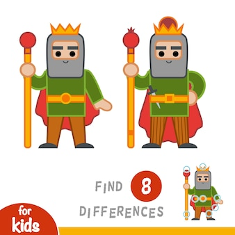 Encuentra las diferencias, juego educativo para niños, rey