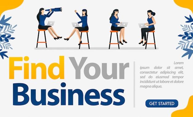 Encuentra el diseño de tu negocio con ilustraciones de trabajadoras que trabajan cara a cara.