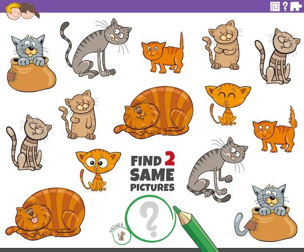 Encuentra dos mismos juegos de personajes de gatos o gatitos para niños