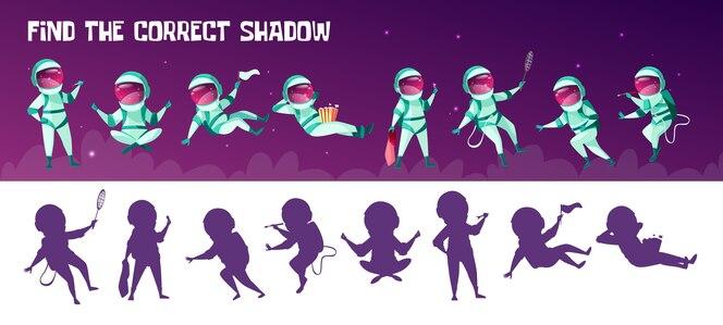 Encuentra el juego de educación de sombra apropiado para niños. corrección de la prueba de coincidencia de silueta