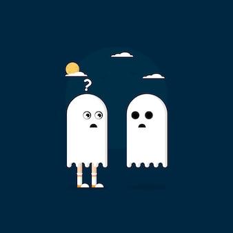 Encuentra el fantasma de halloween en el diseño plano vector gratis