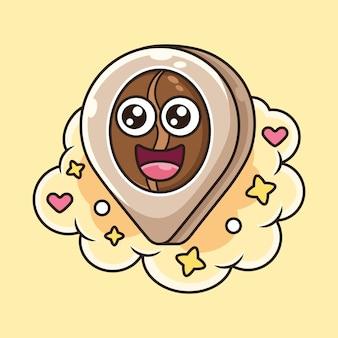 Encuentra la ilustración del icono de café. concepto de icono de comida con expresión linda
