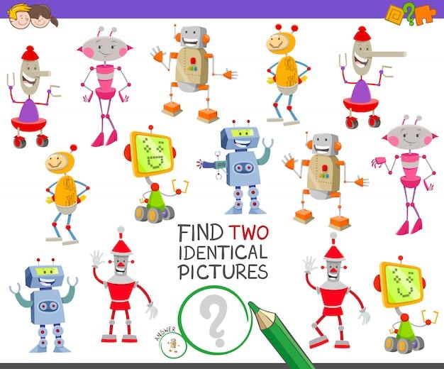 Encuentra el juego educativo de dos robots idénticos