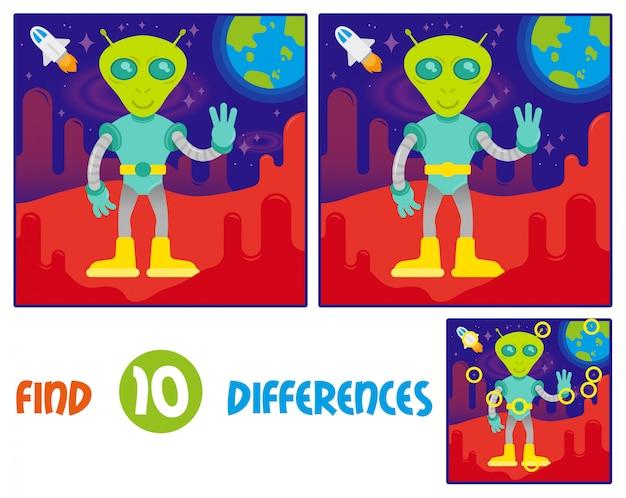 Encuentra el juego interactivo de educación lógica de diferencias para niños. lindo amigable en traje espacial astronauta alienígena de marte u otro planeta galaxia. marte rojo espacio abierto con estrellas tierra azul y cohetes.