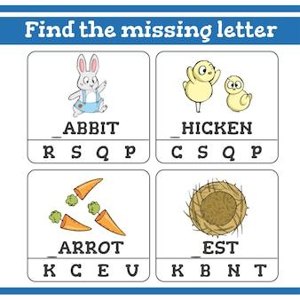 Encuentra el juego de letras que faltan para niños en edad preescolar