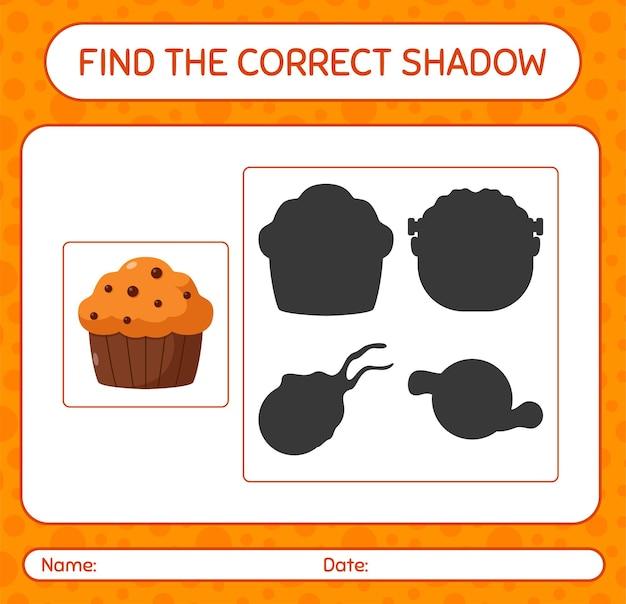 Encuentra el juego de sombras correcto con cupcake. hoja de trabajo para niños en edad preescolar, hoja de actividades para niños