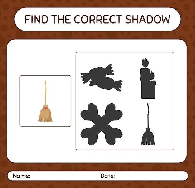 Encuentra el juego de sombras correcto con escoba. hoja de trabajo para niños en edad preescolar, hoja de actividades para niños
