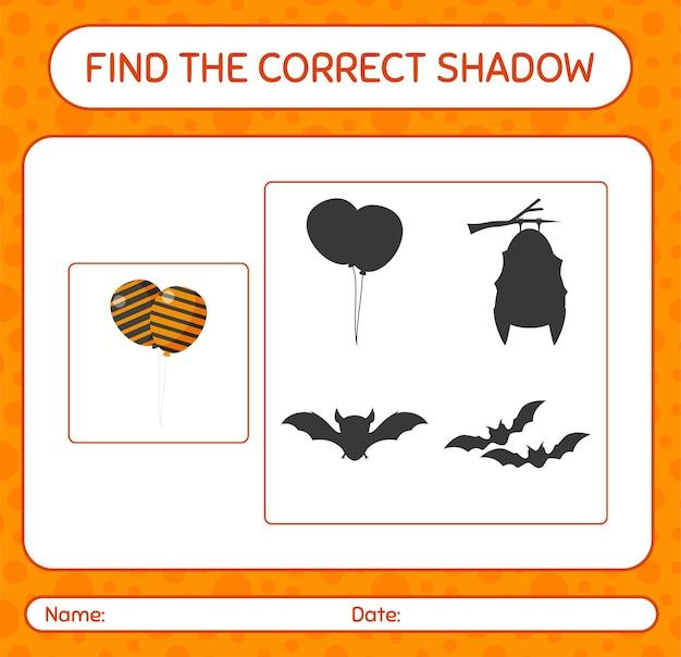 Encuentra el juego de sombras correcto con globo. hoja de trabajo para niños en edad preescolar, hoja de actividades para niños