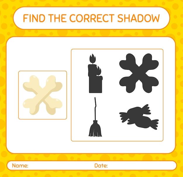 Encuentra el juego de sombras correcto con hueso. hoja de trabajo para niños en edad preescolar, hoja de actividades para niños