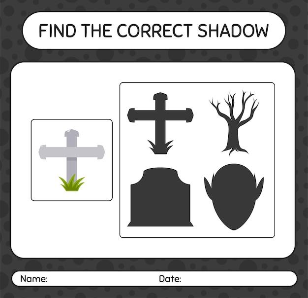 Encuentra el juego de sombras correcto con lápida. hoja de trabajo para niños en edad preescolar, hoja de actividades para niños