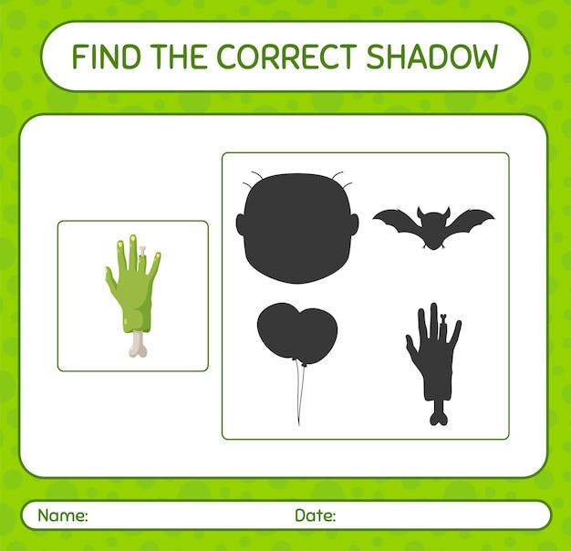 Encuentra el juego de sombras correcto con la mano de un zombi. hoja de trabajo para niños en edad preescolar, hoja de actividades para niños