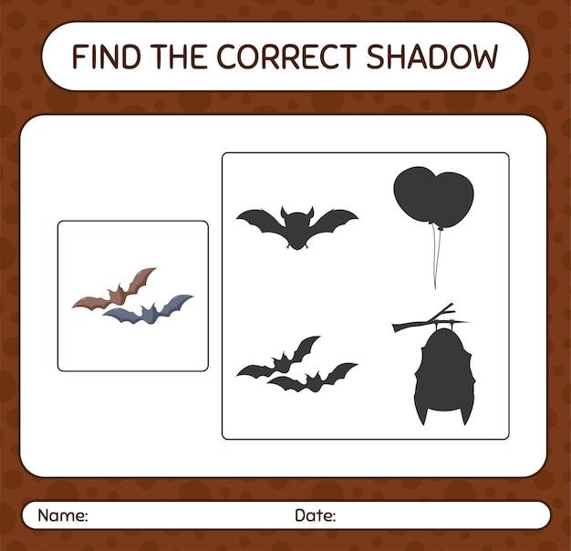 Encuentra el juego de sombras correcto con murciélago. hoja de trabajo para niños en edad preescolar, hoja de actividades para niños