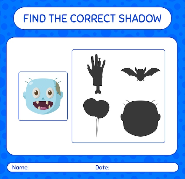 Encuentra el juego de sombras correcto con zombie. hoja de trabajo para niños en edad preescolar, hoja de actividades para niños