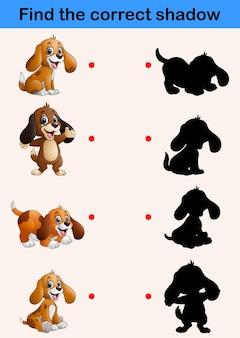Encuentra la sombra correcta. divertidas colecciones de perros pequeños