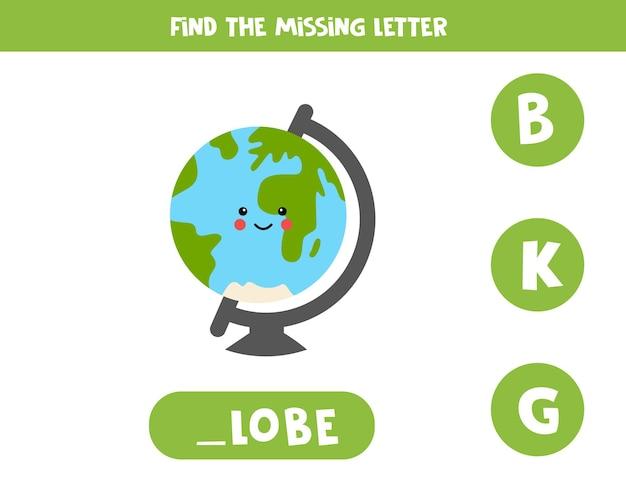 Encuentra la letra que falta con un lindo globo. hoja de trabajo de ortografía.