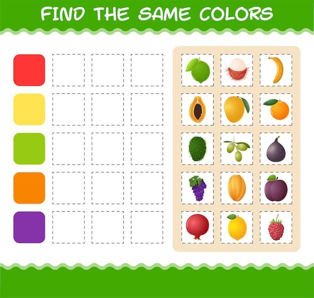 Encuentra los mismos colores de frutas. juego de búsqueda y emparejamiento. juego educativo para niños y niños pequeños en edad preescolar.