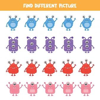 Encuentra el monstruo que es diferente de los demás. juego de lógica para niños.
