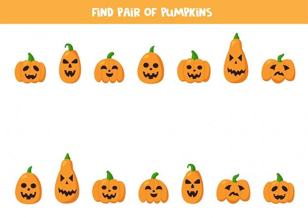 Encuentra parejas de lindas calabazas de halloween. juego para niños.