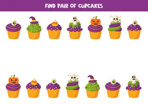 Encuentra pares de lindos cupcakes de halloween. juego para niños.