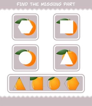 Encuentra las partes que faltan de la caricatura naranja. juego de búsqueda. juego educativo para niños y niños pequeños en edad preescolar.