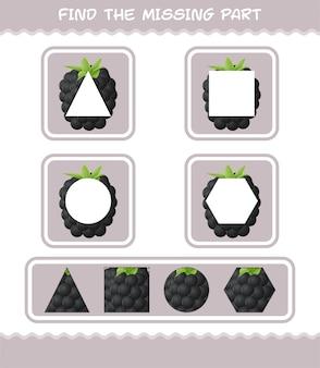 Encuentra las partes que faltan en el dibujo animado de blackberry. juego de búsqueda. juego educativo para niños y niños pequeños en edad preescolar.