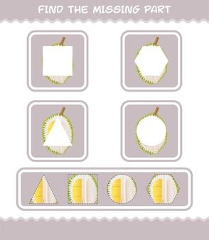 Encuentra las partes que faltan en el dibujo animado de durian. juego de búsqueda. juego educativo para niños y niños pequeños en edad preescolar.