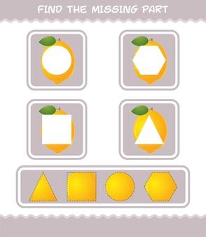 Encuentra las partes que faltan del limón de dibujos animados. juego de búsqueda. juego educativo para niños y niños pequeños en edad preescolar.