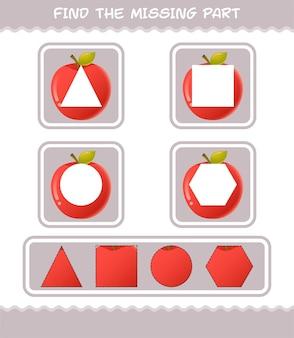Encuentra las partes que faltan de la manzana de dibujos animados. juego de búsqueda. juego educativo para niños y niños pequeños en edad preescolar.