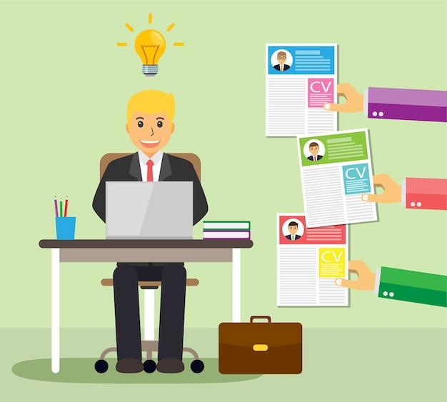 Encuentra a la persona adecuada para el concepto de trabajo, hombre de negocios