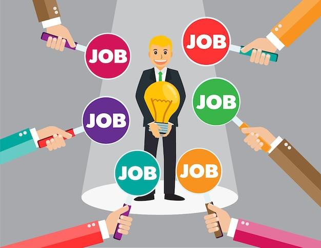 Encuentra a la persona adecuada para el concepto de trabajo