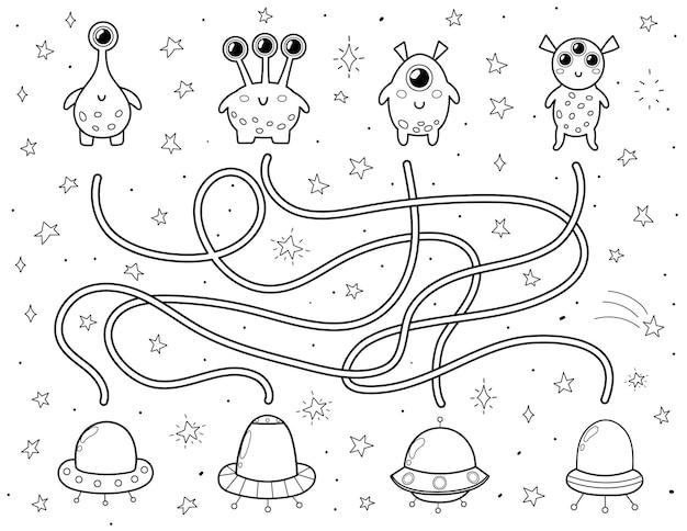 Encuentra el platillo volador correcto para cada extraterrestre laberinto espacial en blanco y negro para niños página de actividades