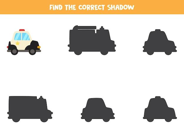 Encuentra la sombra del coche de policía de dibujos animados. juego de lógica educativo para niños.