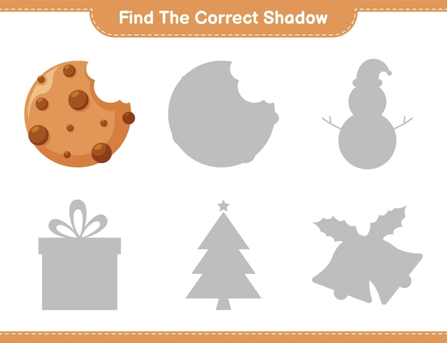 Encuentra la sombra correcta. busque y combine la sombra correcta de cookies. juego educativo para niños