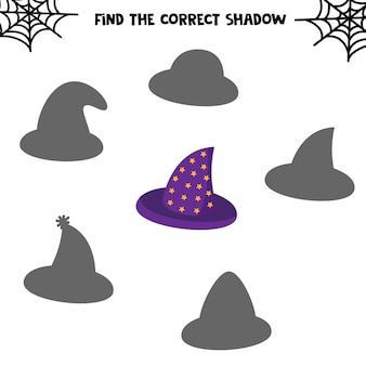 Encuentra la sombra correcta. conjunto de lindos sombreros. juego educativo para niños. hoja de trabajo imprimible para halloween