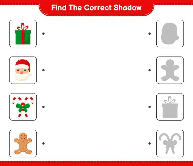 Encuentra la sombra correcta. encuentra y combina la sombra correcta de la decoración navideña.
