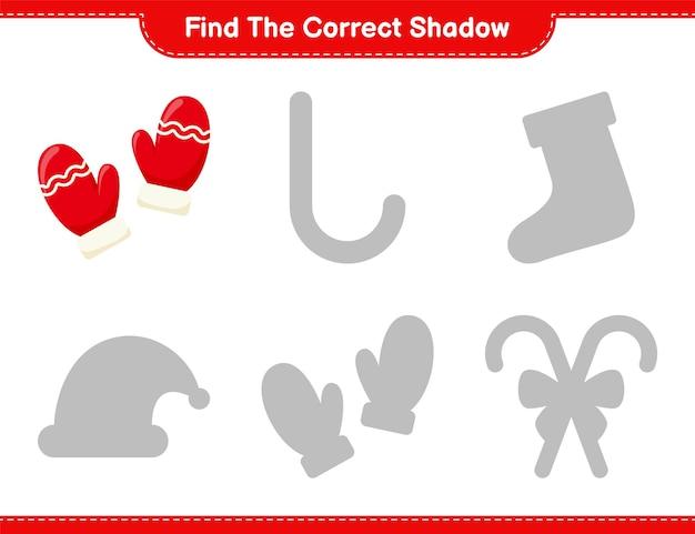 Encuentra la sombra correcta. encuentra y combina la sombra correcta de mittens. juego educativo para niños