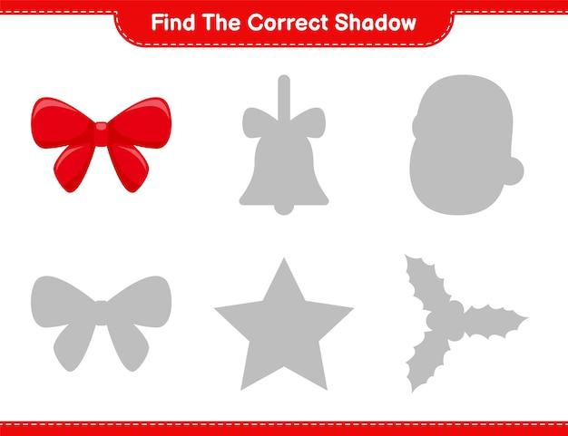 Encuentra la sombra correcta. encuentra y combina la sombra correcta de ribbons. juego educativo para niños