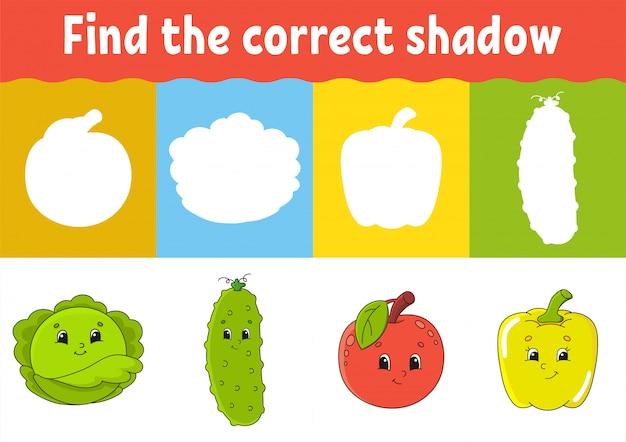 Encuentra la sombra correcta. hoja de trabajo de desarrollo educativo.