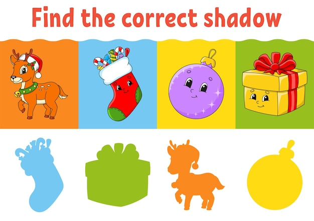 Encuentra la sombra correcta. hoja de trabajo de educación. juego de correspondencias para niños.