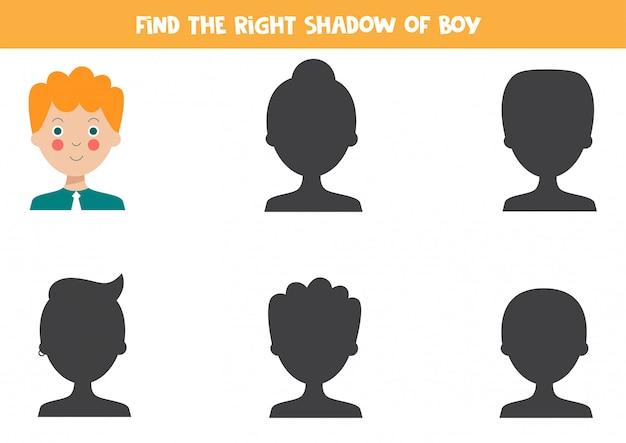 Encuentra la sombra correcta del joven de dibujos animados lindo.