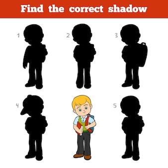 Encuentra la sombra correcta, juego educativo para niños, colegial con un libro.