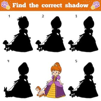 Encuentra la sombra correcta, juego educativo para niños. princesa de dibujos animados de vector