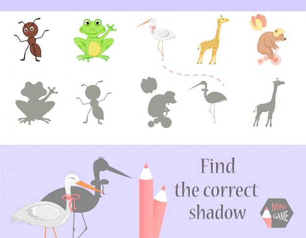 Encuentra la sombra correcta, juego educativo para niños