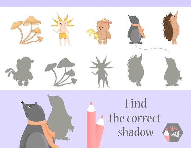 Encuentra la sombra correcta, juego educativo para niños.