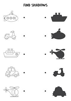 Encuentra sombras de medios de transporte. hoja de trabajo en blanco y negro. juego de lógica educativo para niños.