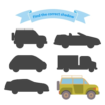 Encuentra el transporte de sombra correcto. juego educativo para niños, automóviles, camiones, vehículos todo terreno, suv, autos deportivos.