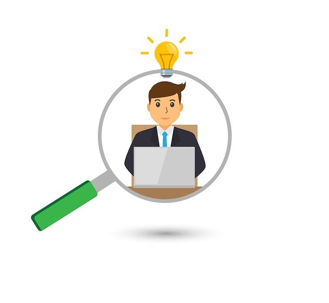 Encuentre la persona adecuada para el concepto de trabajo con negocios